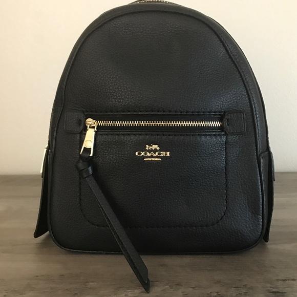 Coach Handbags - Coach Andi Black Pebble Leather Backpack NWT